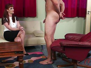 Amateur redhead Zoe Page enjoys watching her husband while masturbating