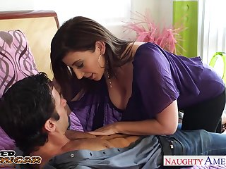 Hot mature woman Sara Jay is cheating on her man with young muscular boy