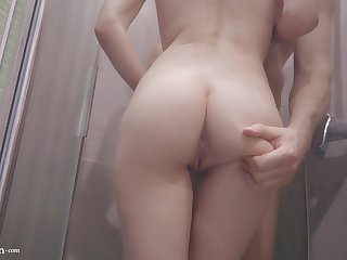 Big Ass Teen Fingering Pussy and Jerk Off in the Shower