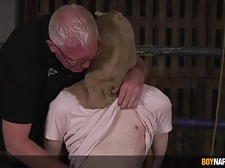 Old man ass fucks obedient twink in dirty BDSM game