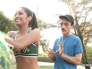 Cheerleader wants her stepdad's pulsating schlong inside of her