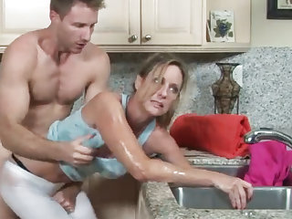 Busty MILF stuck and fuck by stepson
