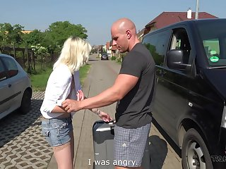 Tyna gets her tight wet pussy penetrated in the back of his car