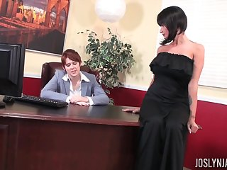 Babe in a black dress Joslyn James having her pussy penetrated