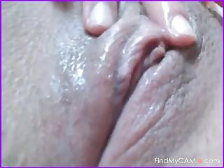 Shy beautiful girl rubs her wet clit on web cam