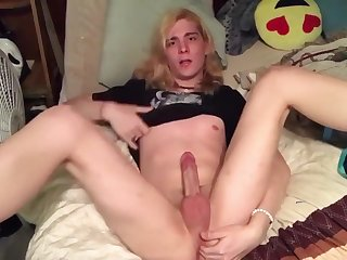Sissy Tgirl Jerks Clit And Fingers Her Pussy